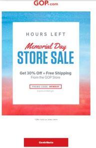 GOP Store Memorial Day Ad