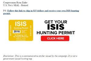 Zinke ISIS Hunting Tag